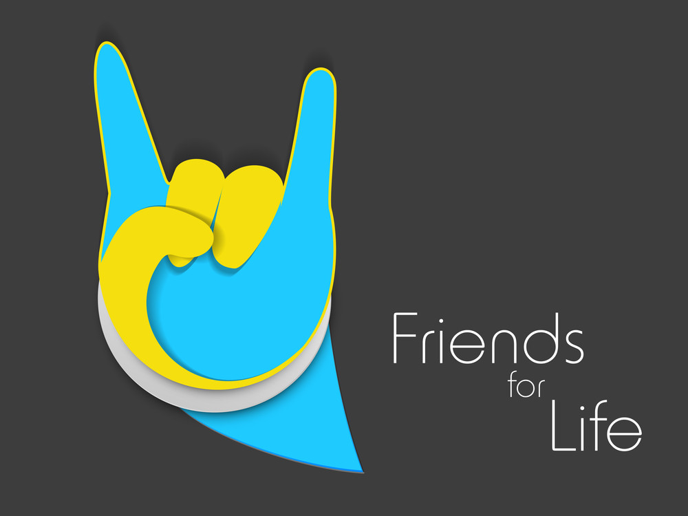 Happy Friendship Day Background With Winning Symbol Made By Hands On Grey Background.