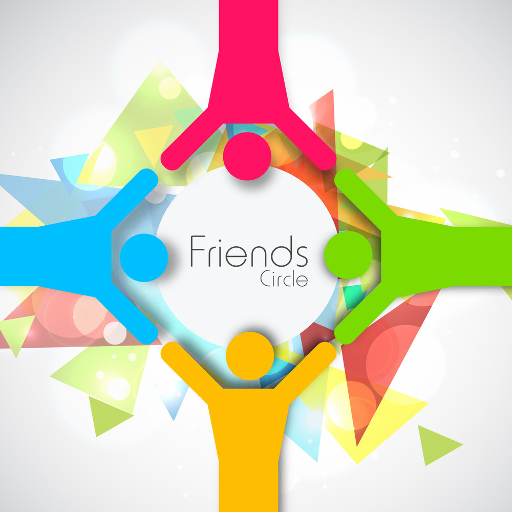 Happy Friendship Day Conccept With Cute Friends In A Circle On Colorful Abstract Grey Background.
