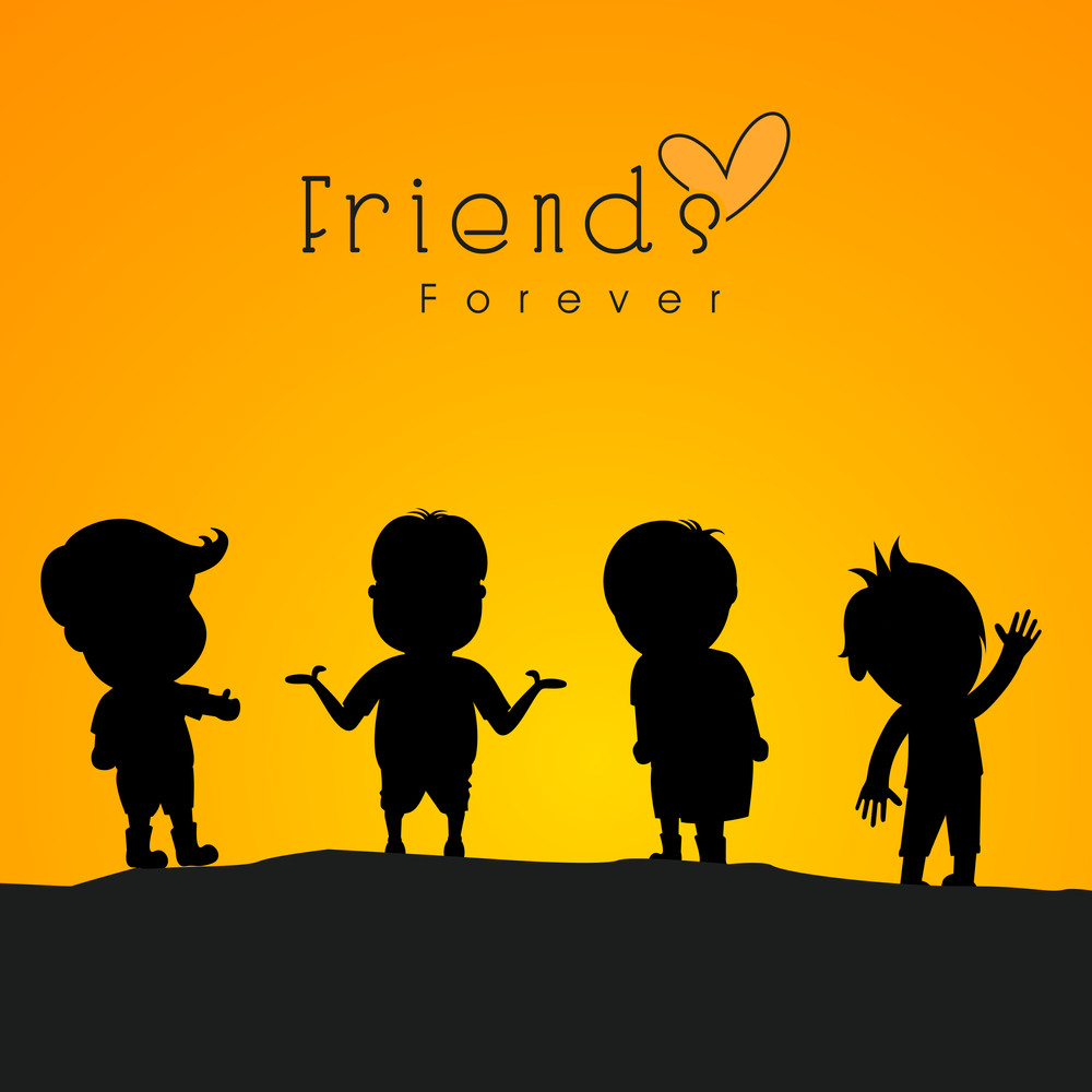 Happy Friendship Day Concept With Black Silhouette Of Friends On Yellow And Black Background.