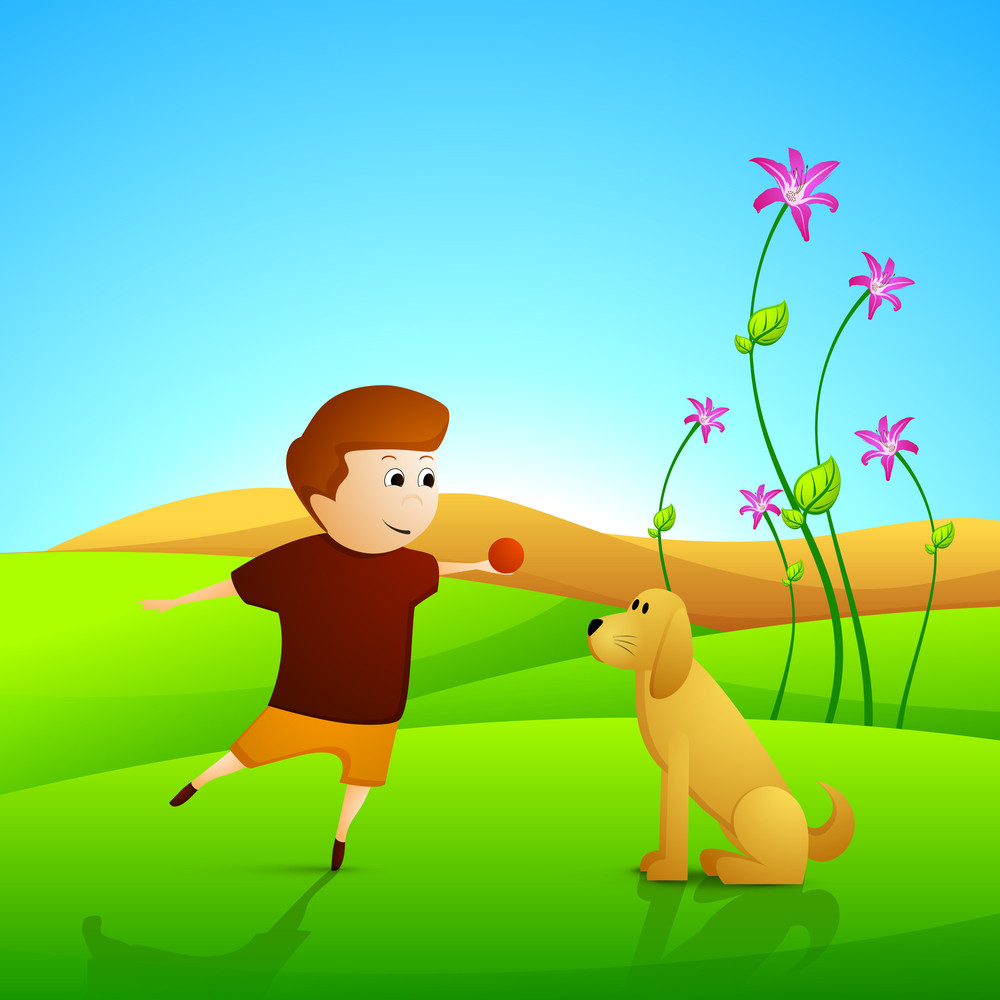 Happy Friendship Day Concept With Boy Playing Ball With Dog.