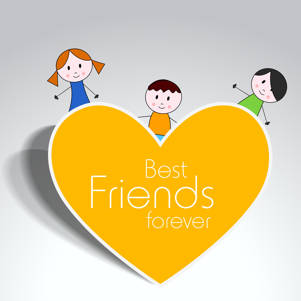 Happy Friendship Day Concept With Cartoon Illustration Of Friends And Yellow Heart On Grey Background