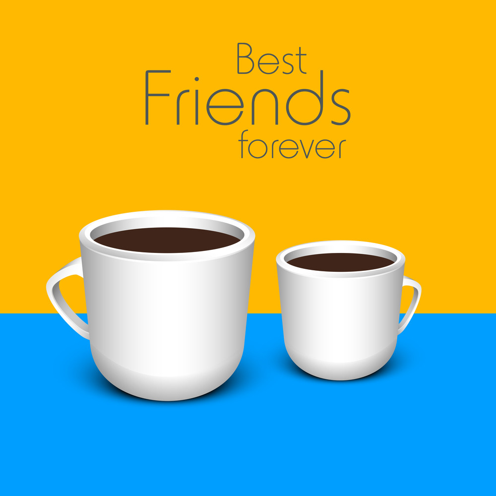 Happy Friendship Day Concept With Coffee Cups On Yellow And Blue Background.