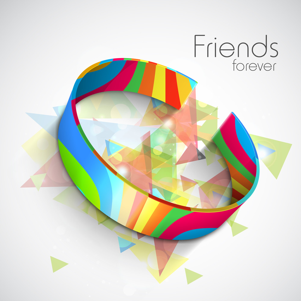 Happy Friendship Day Concept With Colorful Friendship Band On Colorful Grey Background.