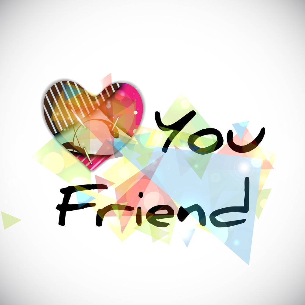 Happy Friendship Day  Concept With Colorful Heart And Stylish Text On Colorful Grey Background.