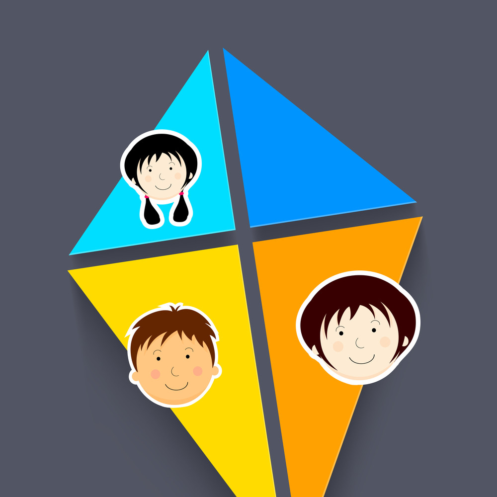Happy Friendship Day Concept With Colorful Lkite And Cute Faces Of Kids On Grey Background.