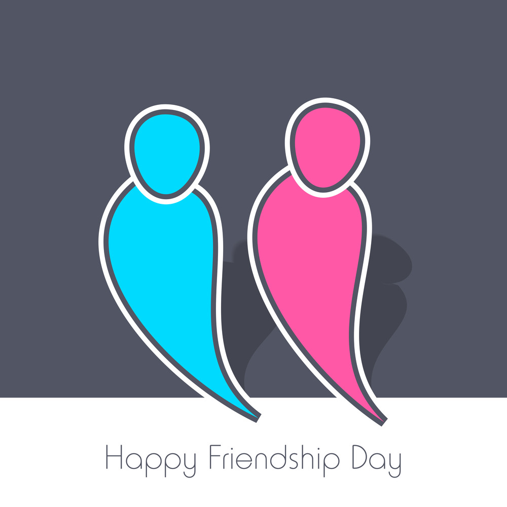 Happy Friendship Day Concept With Colorful Silhouette Of Friends On Grey Background.