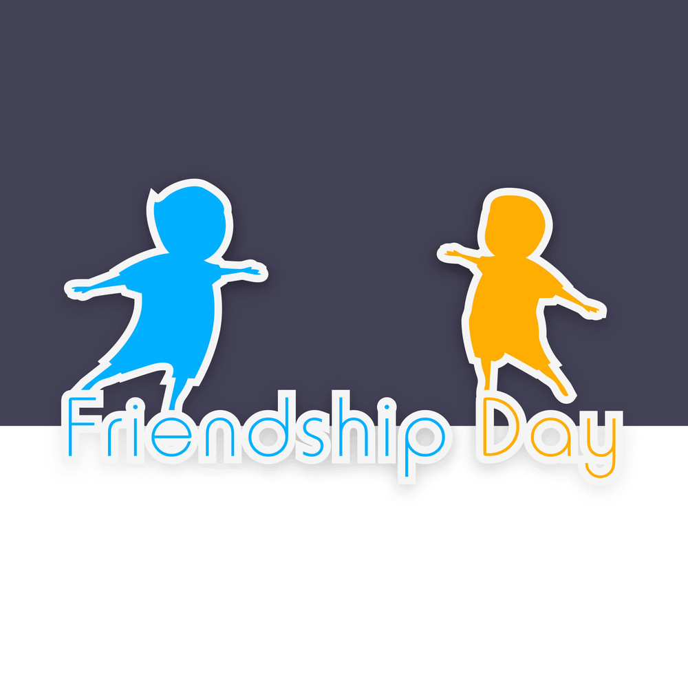 Happy Friendship Day Concept With Colorful Silhouette Of Happy People On Grey And White Background.