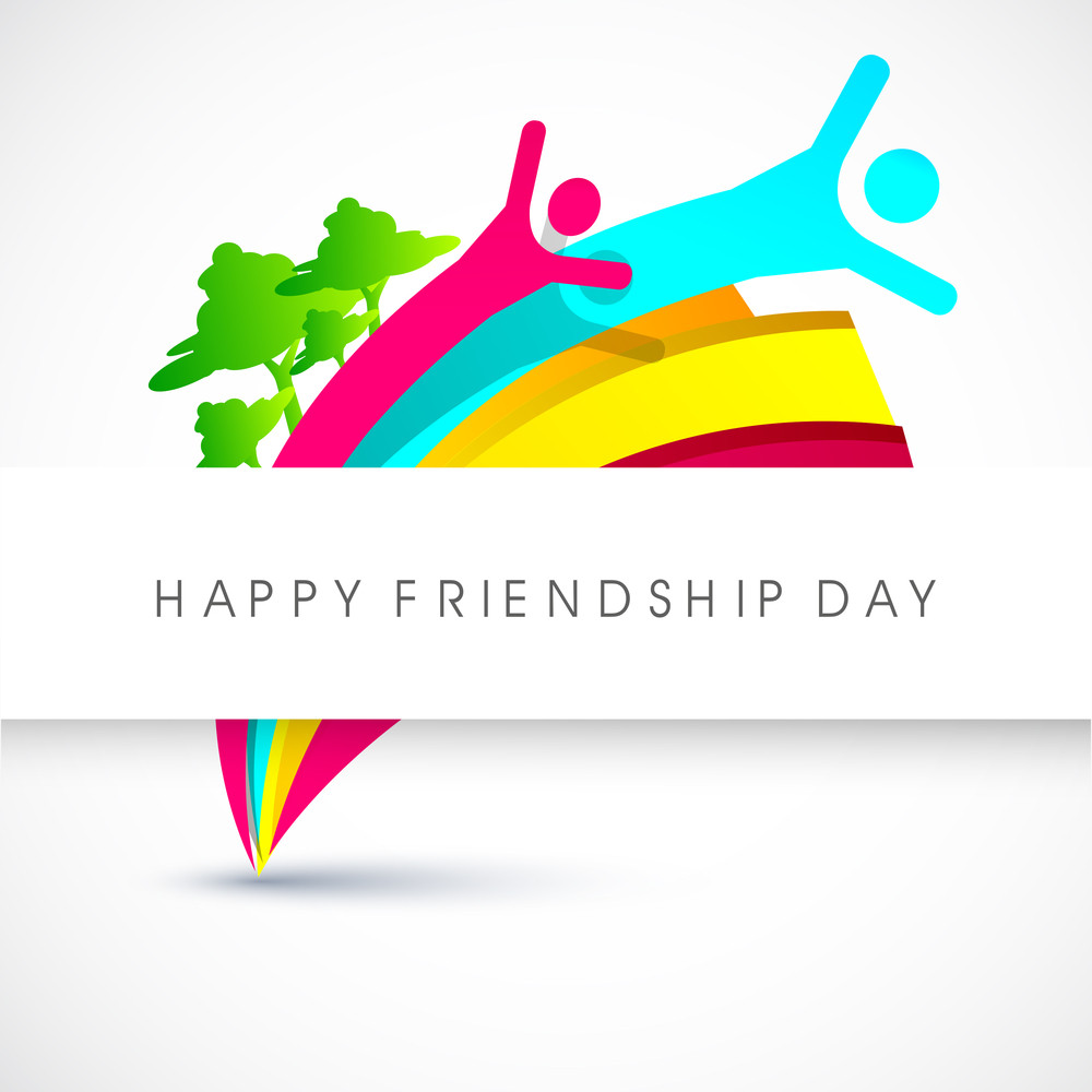 Happy Friendship Day Concept With Colorful Silhouette Of Peoples On Grey Background.
