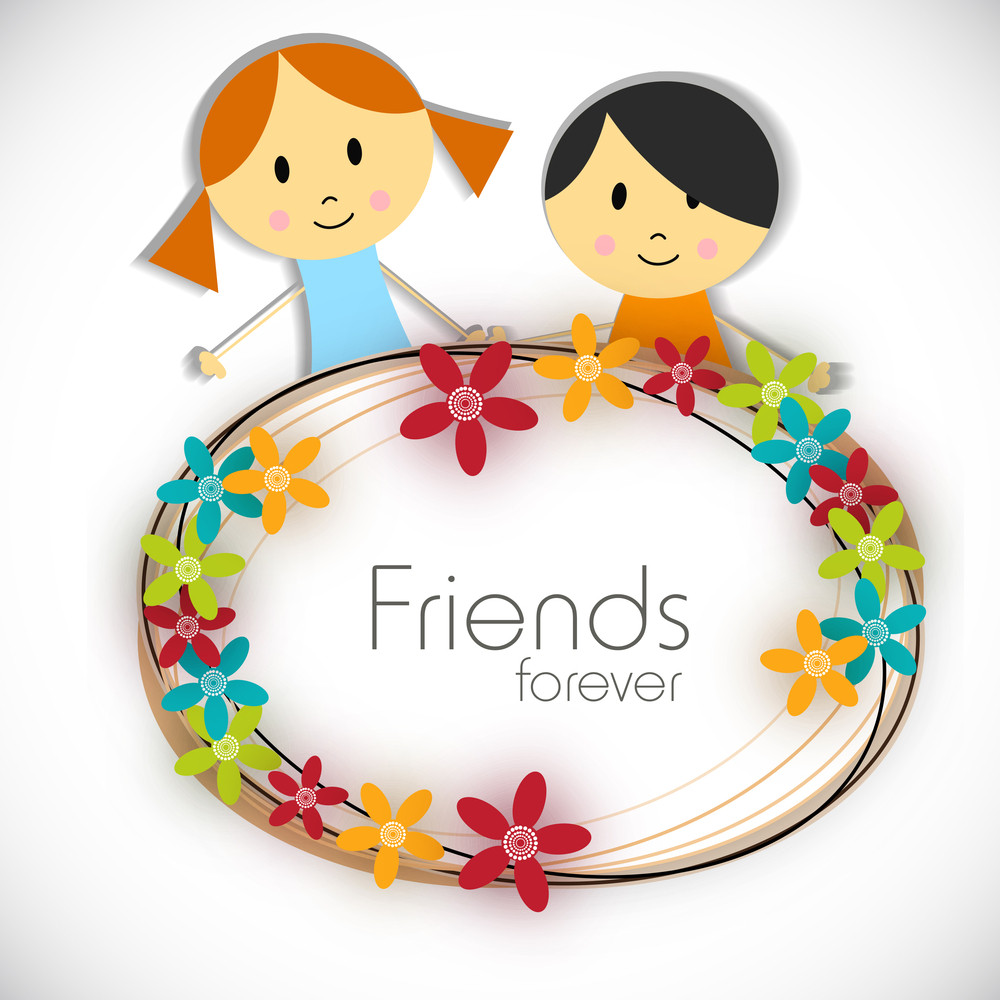 Happy Friendship Day Concept With Cute Friends On Colorful Florals On Grey Background.