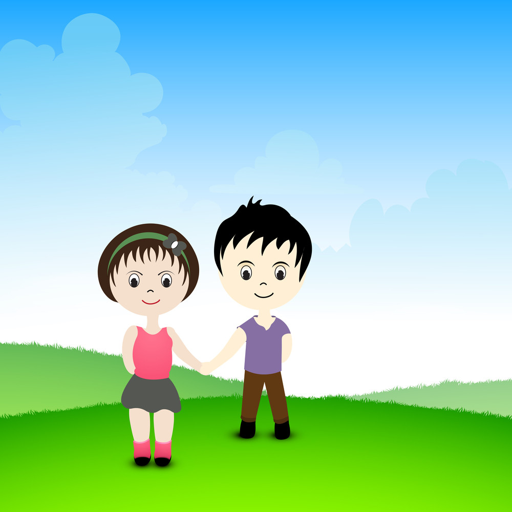 Happy Friendship Day Concept With Cute Kids Holding Hands On Nature Background.