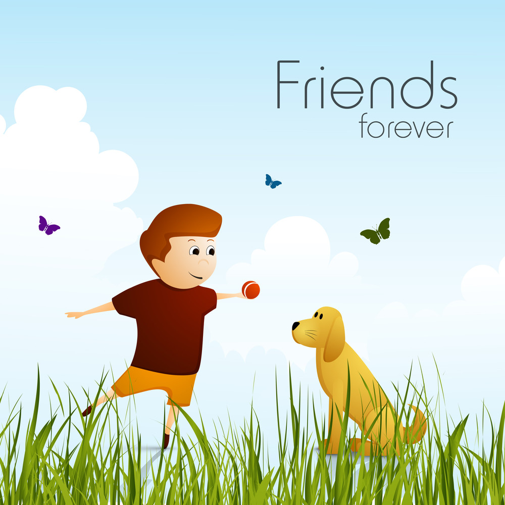 Happy Friendship Day Concept With Cute Little Boy Playing With Dog On Abstract Background.