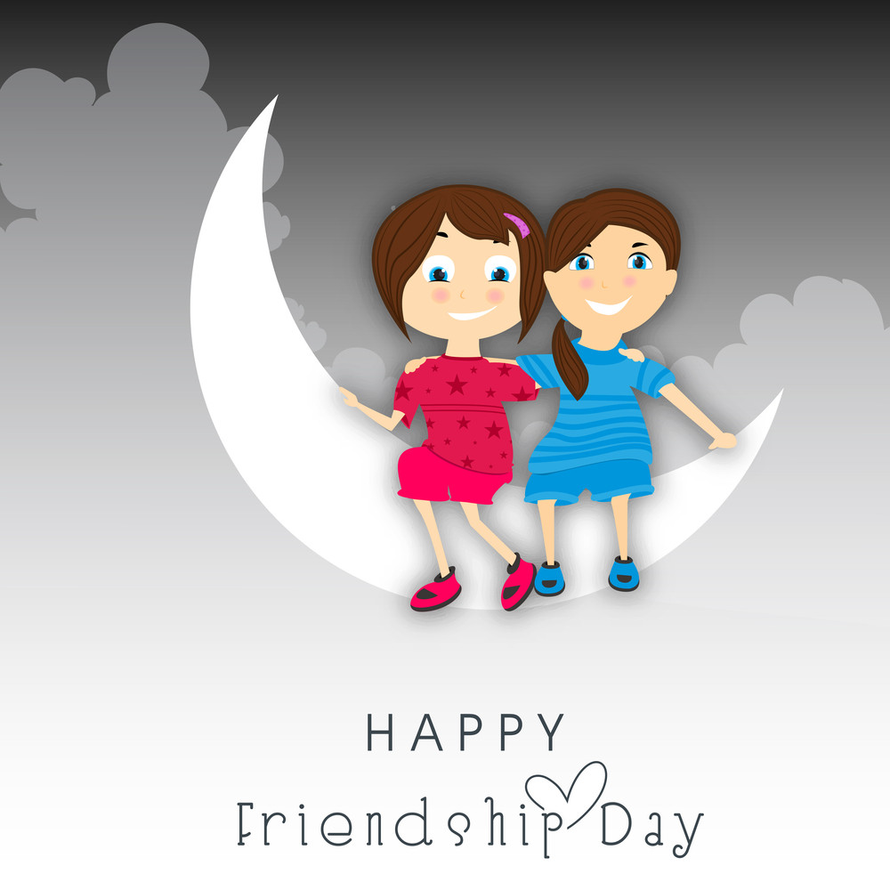 Happy Friendship Day Concept With Cute Little Girls Sitting On Moon
