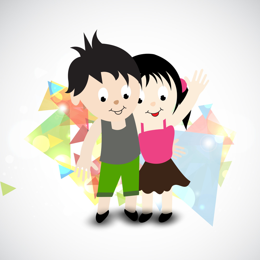 Happy Friendship Day Concept With Cute Little Kids On Colorful Abstract Background.