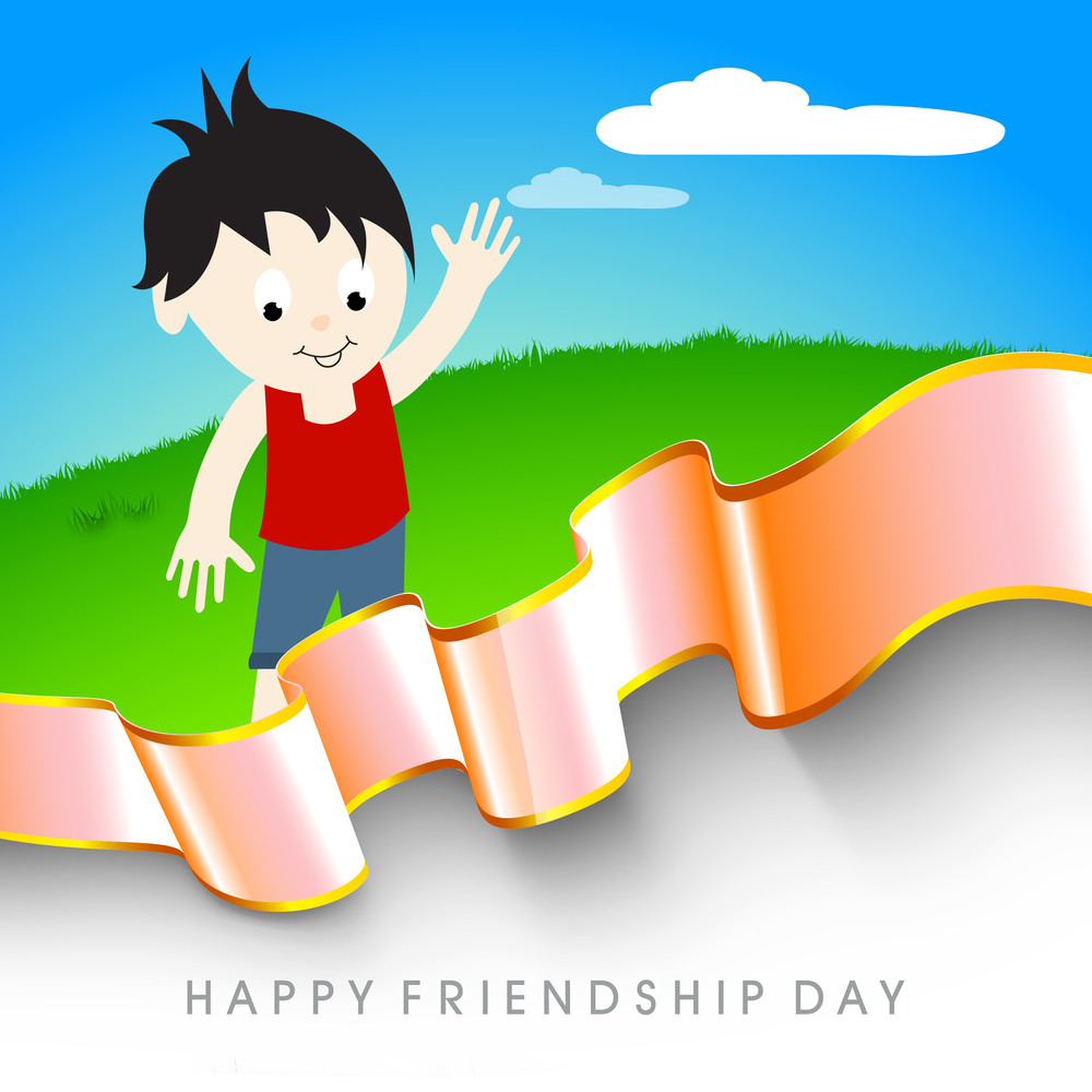 Happy Friendship Day Concept With Cute Littleandshaking On Nature Background.