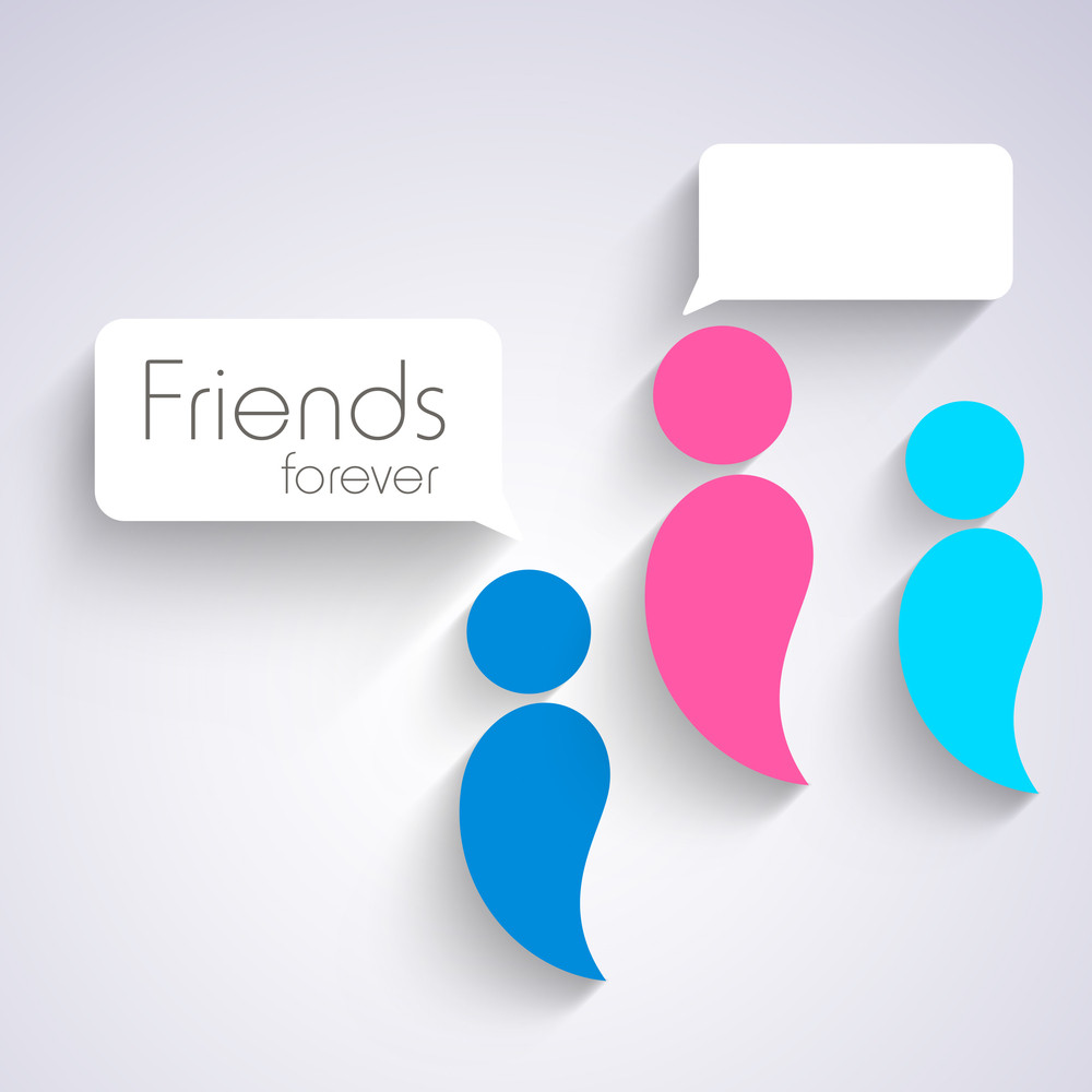 Happy Friendship Day Concept With Cute Peoples With Speech Bubble On Grey Background.