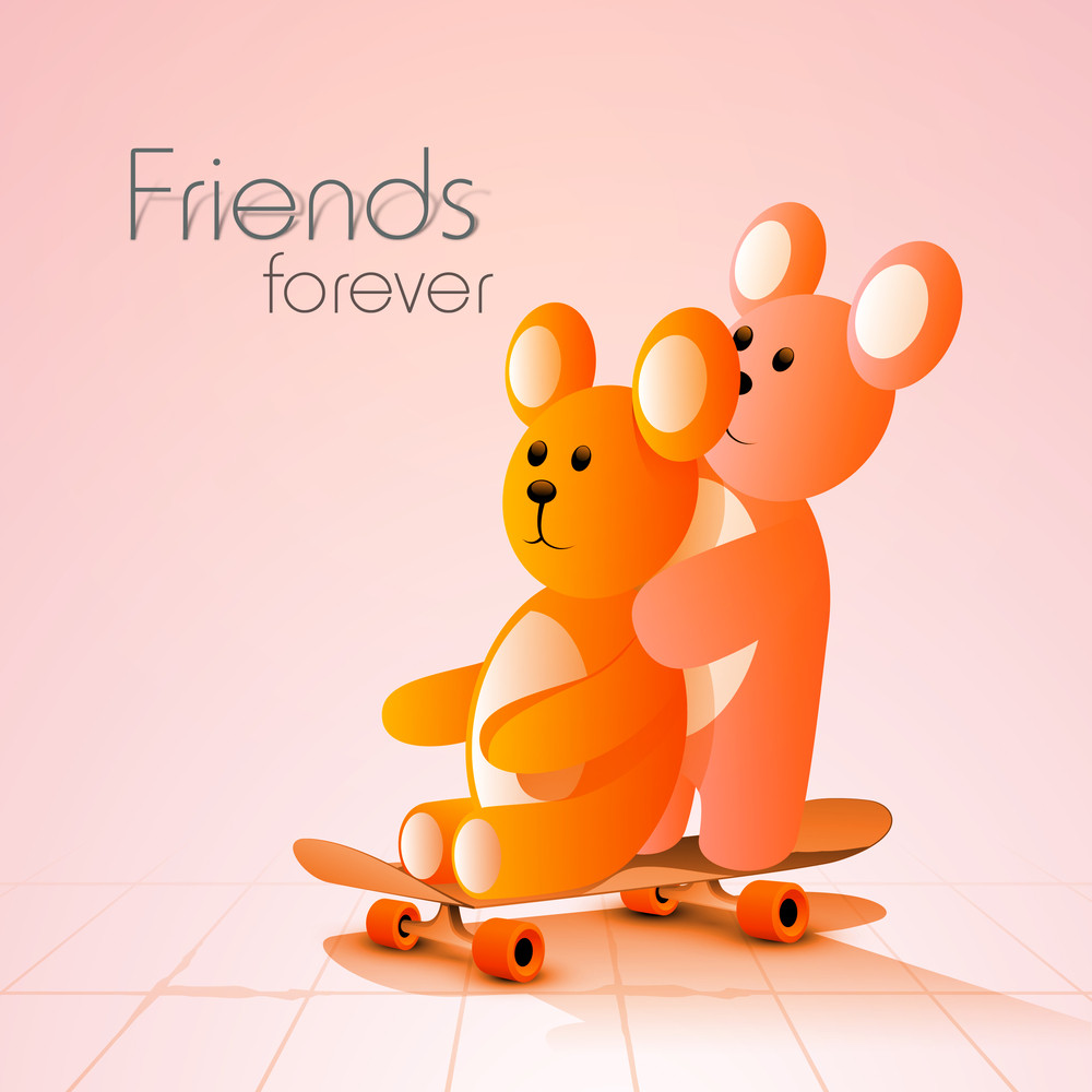 Happy Friendship Day Concept With Cute Teddy Bears On Pink Background.