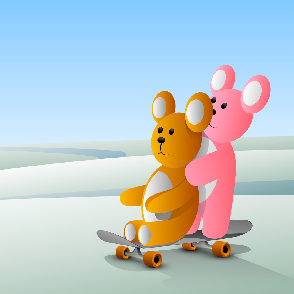Happy Friendship Day Concept With Cute Teddy Bears On Skete.
