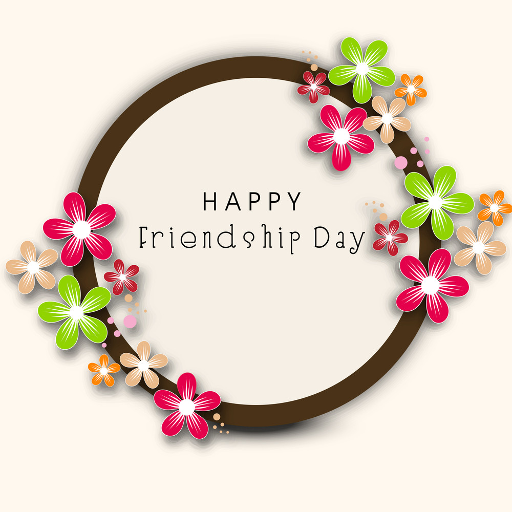 Happy Friendship Day Concept With Floral Decorated Frame On Abstract Background.