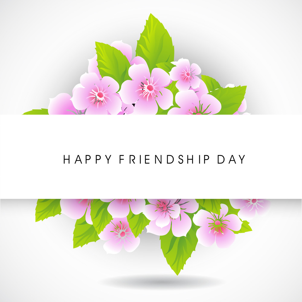 Happy Friendship Day Concept With Florals On Grey Background.
