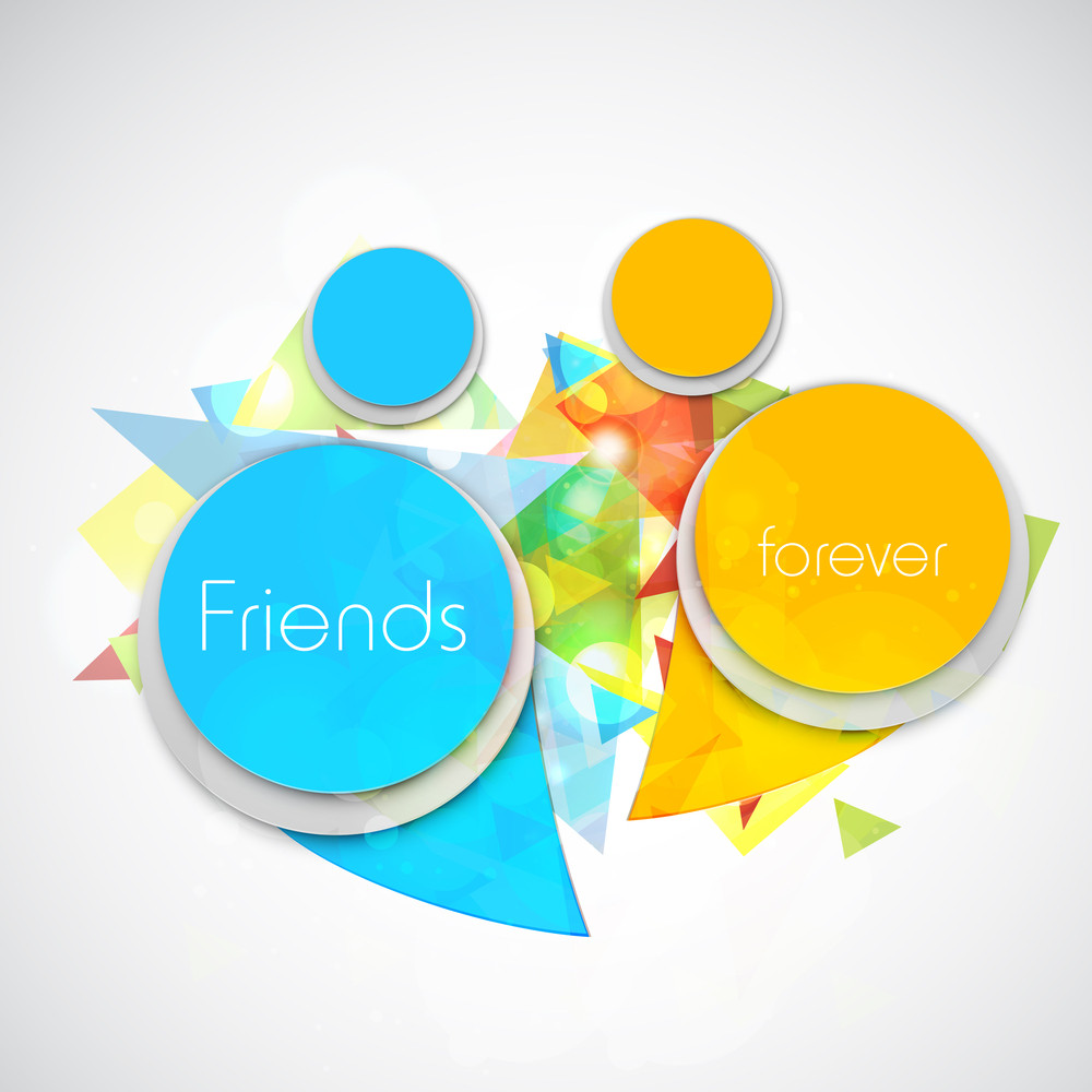 Happy Friendship Day Concept With Friends Icons On Grey Background.