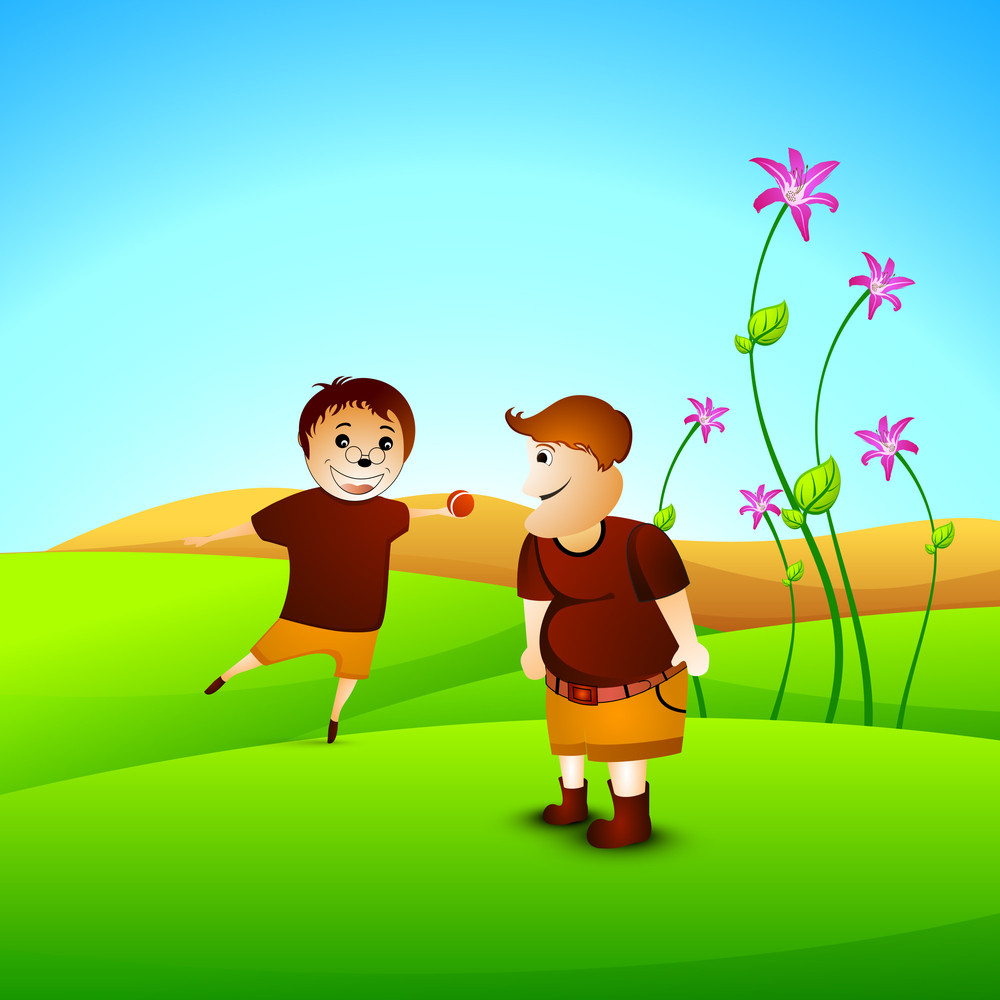 Happy Friendship Day Concept With Friends Playing Ball On Nature Background