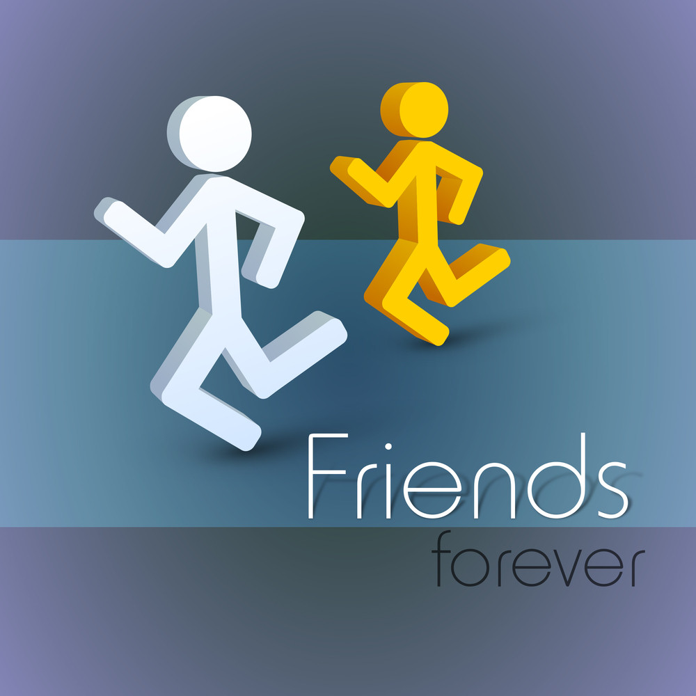 Happy Friendship Day Concept With Friends Running On Purple And Blue Background.