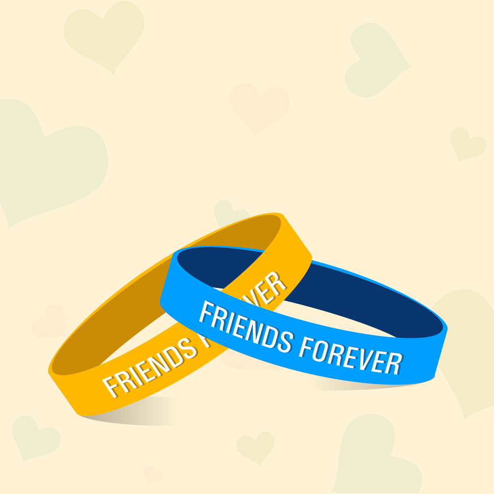 Happy Friendship Day Concept With Friendship Band On Abstract Background.