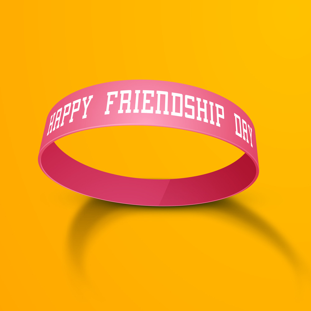 Happy Friendship Day Concept With Friendship Band On Yellow Background.