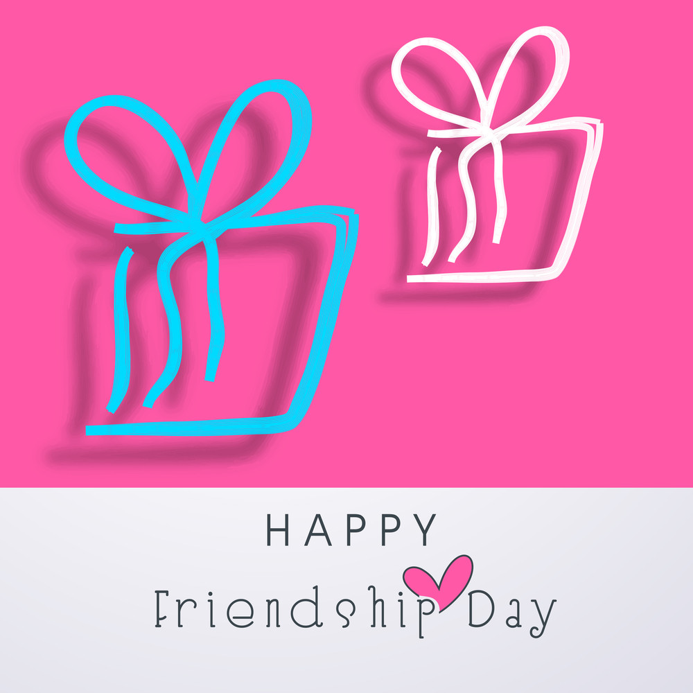 Happy Friendship Day Concept With Gift Boxes On Pink And Grey Background.