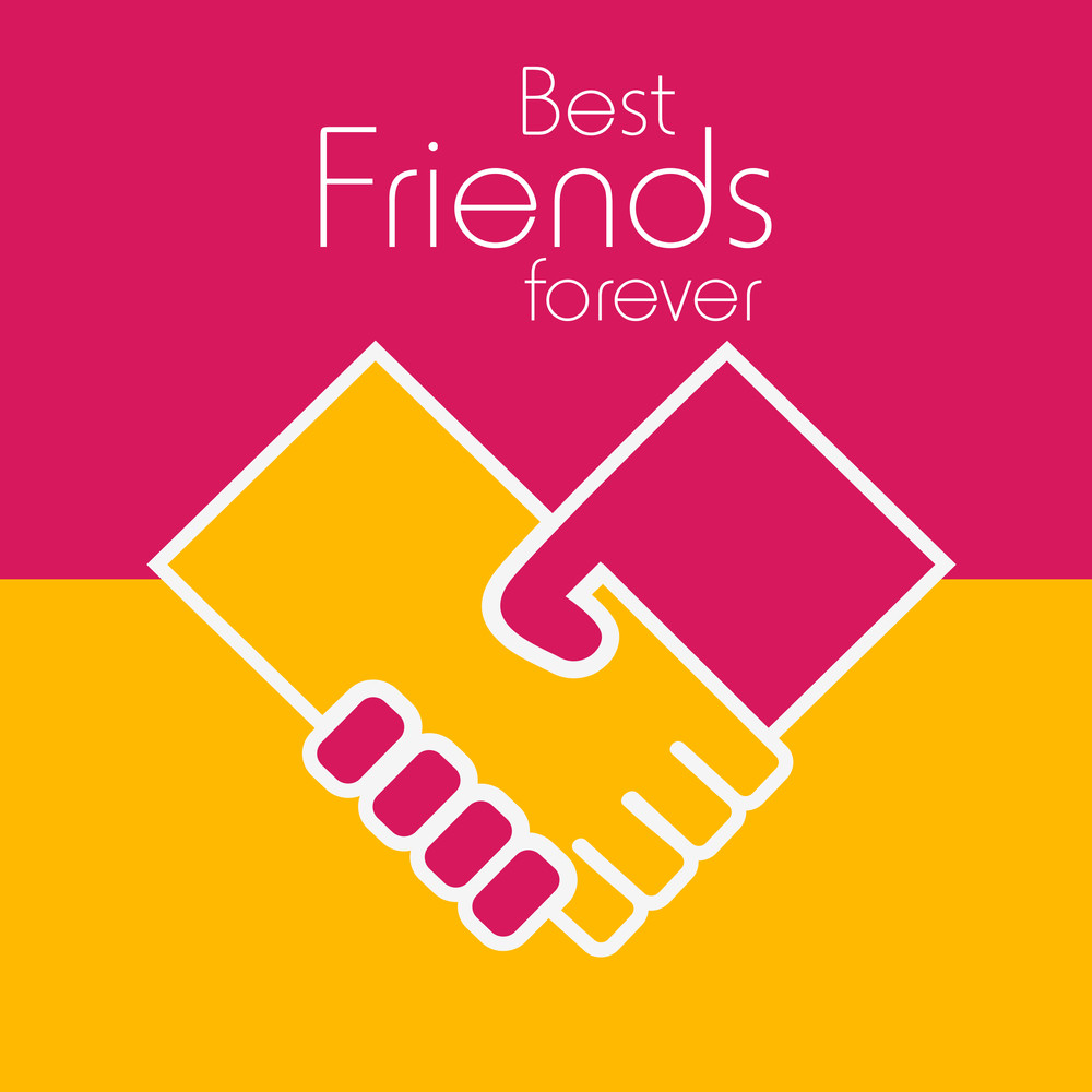 Happy Friendship Day Concept With Hands Shaking On Pink And Yellow Background.