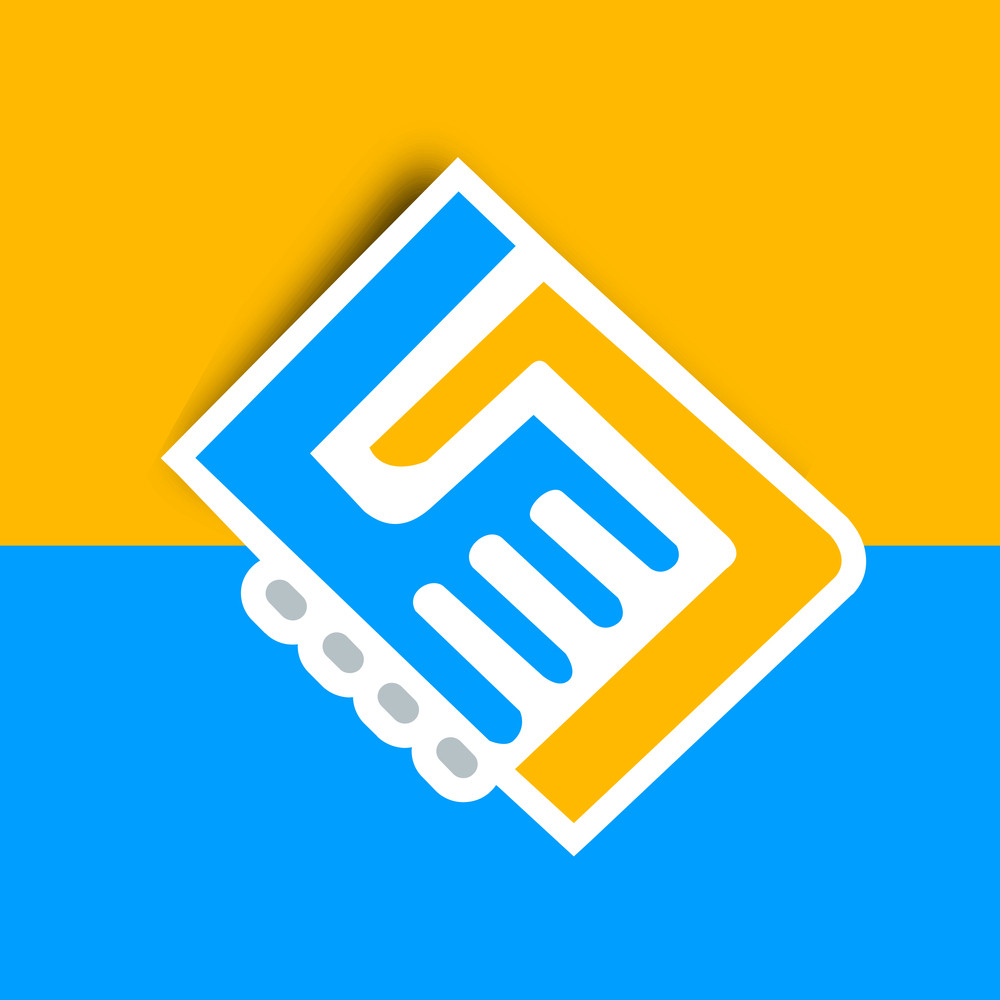Happy Friendship Day Concept With Handshake Icons On Yellow And Blue Background.