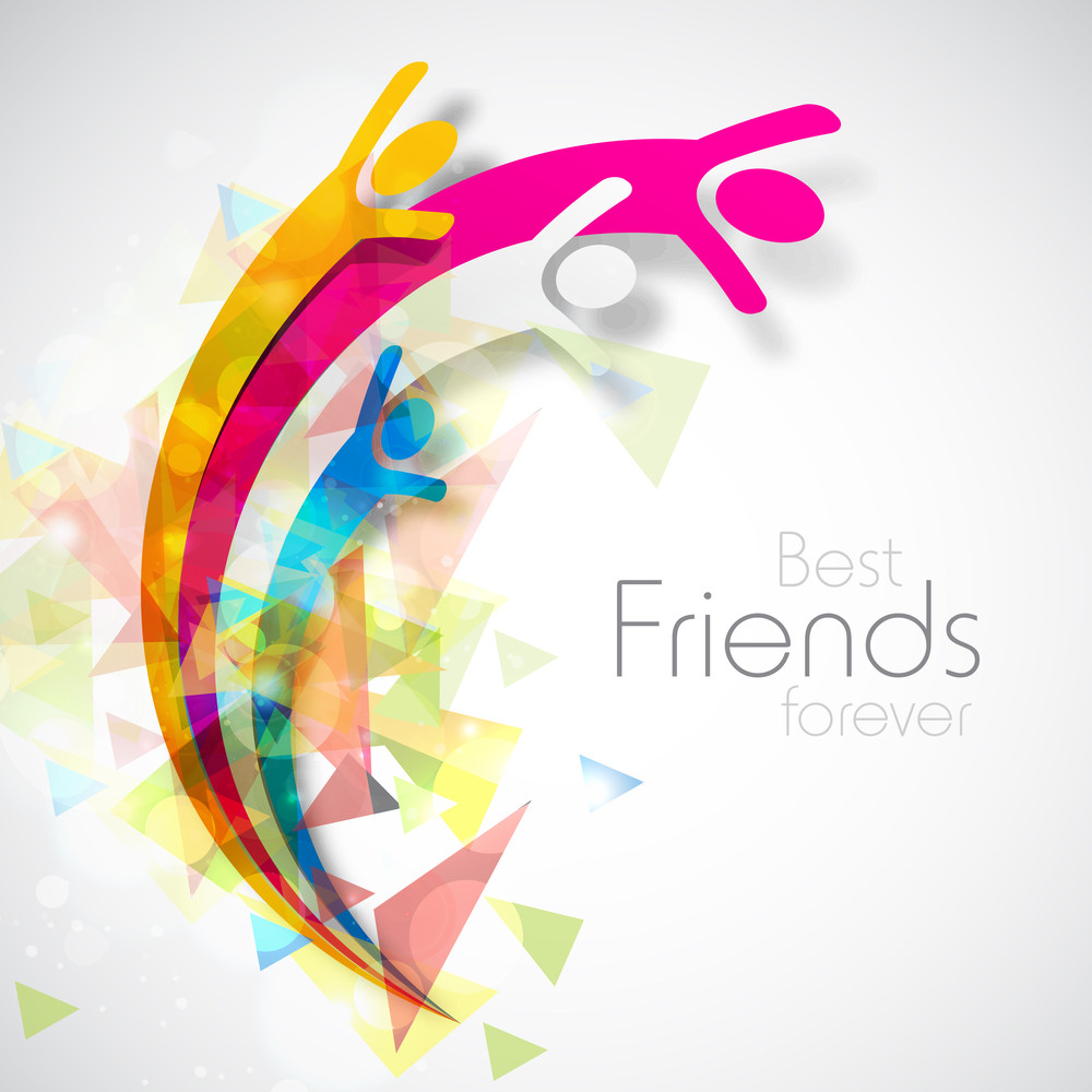 Happy Friendship Day Concept With Happy Friends On Colorful Grey Background.