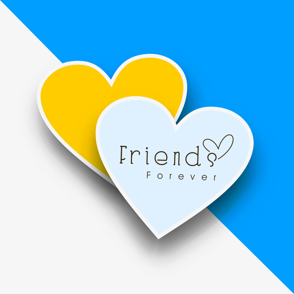 Happy Friendship Day Concept With Heart Shape Design On Blue And Grey Background.