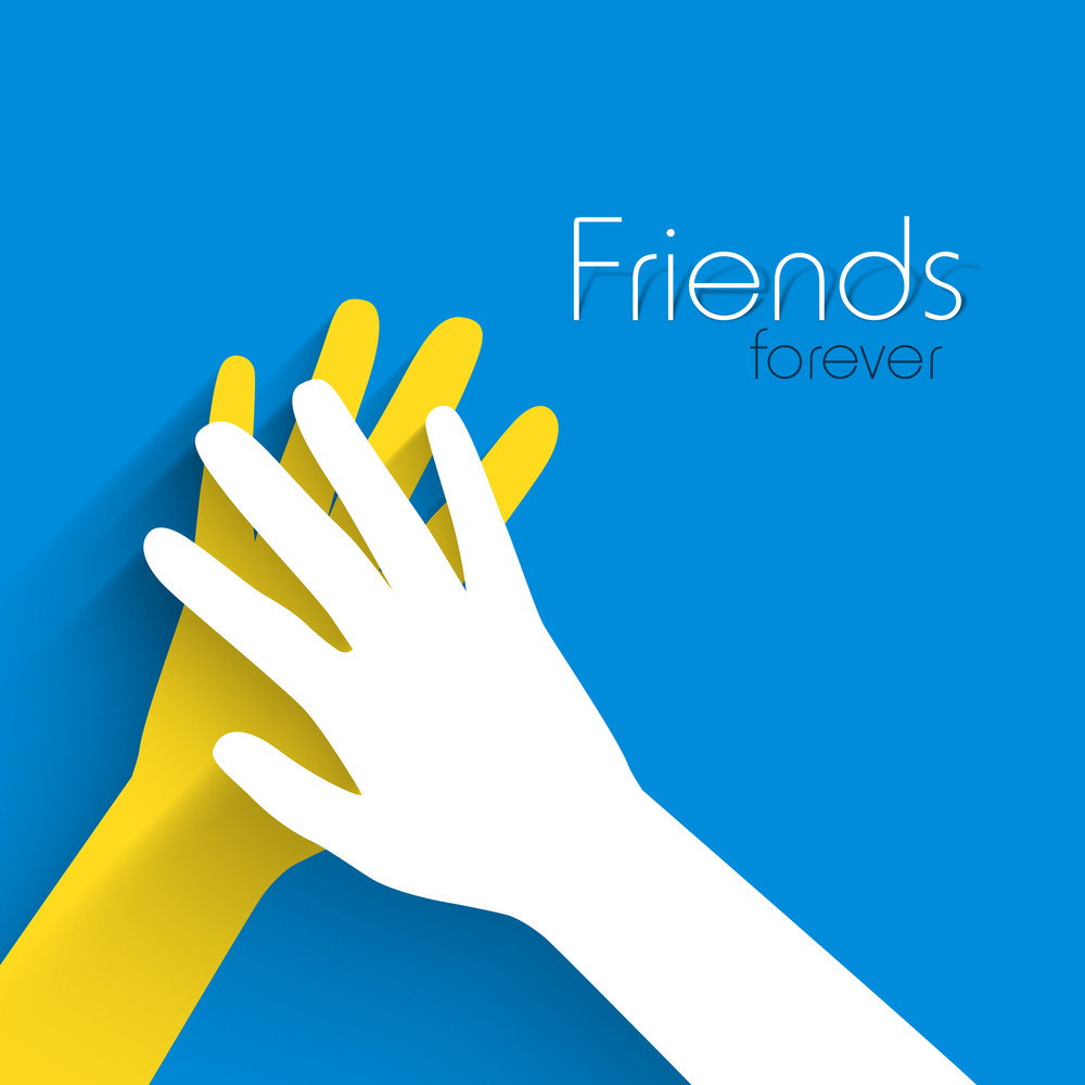 Happy Friendship Day Concept With Human Hands On Blue Background.