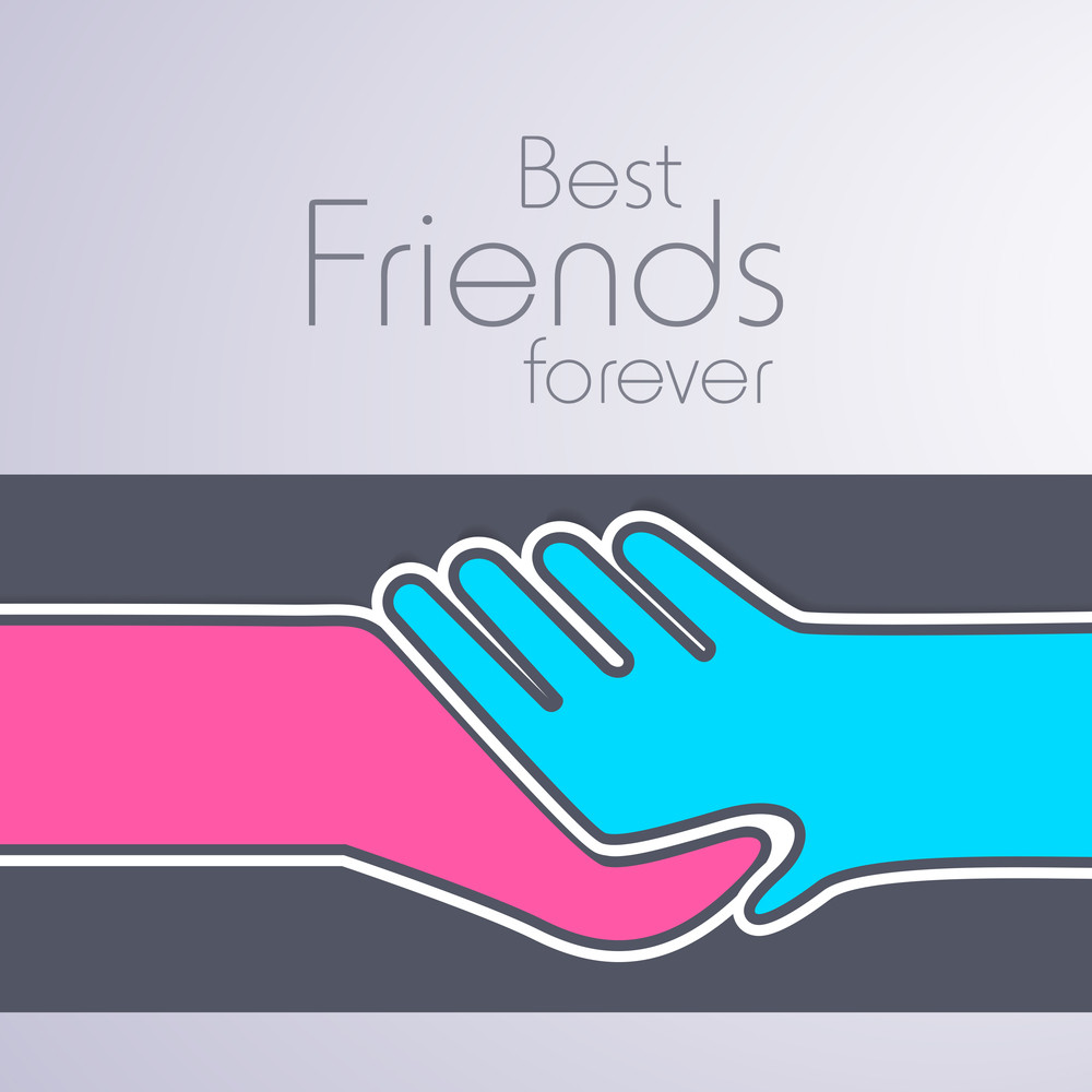 Happy Friendship Day Concept With Human Hands Shaking On Grey Background.