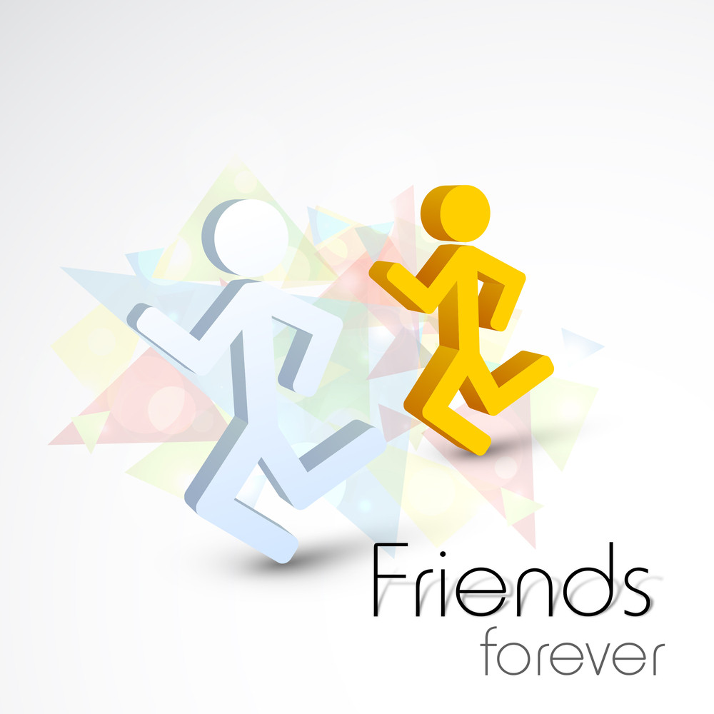 Happy Friendship Day Concept With Icons Of Running Guys On Abstract Background.