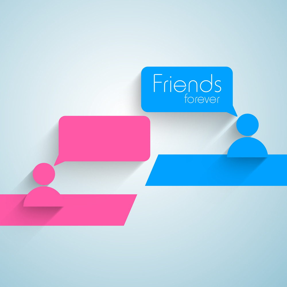 Happy Friendship Day Concept With Icons With Speech Bubble On Blue Background.