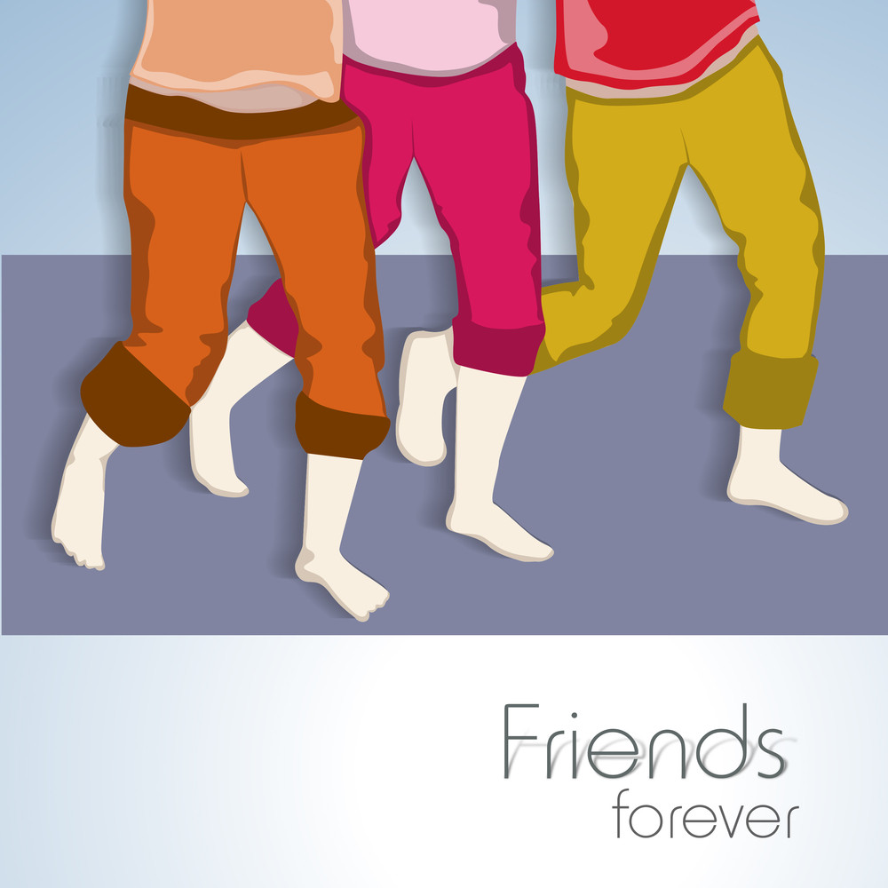 Happy Friendship Day Concept With Illustration Of Boys Legs On Grey Background.