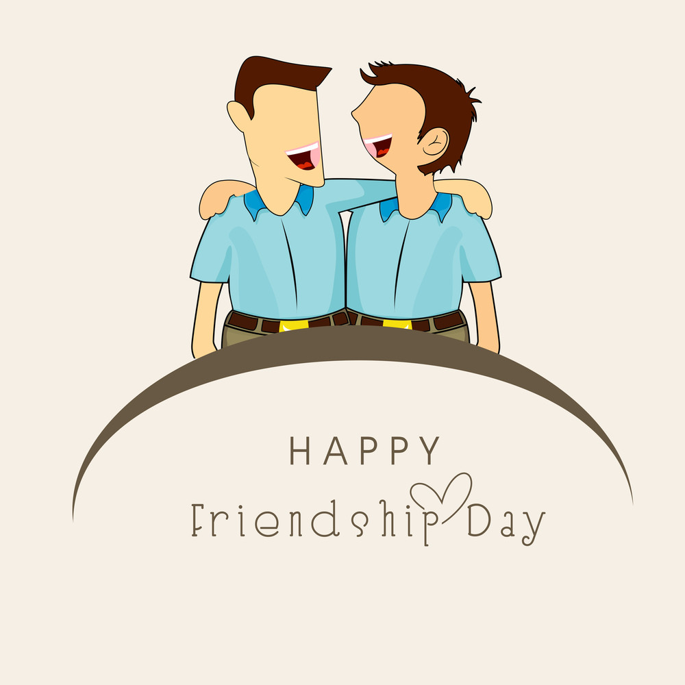 Happy Friendship Day Concept With Illustration Of Two Cute Boys Laughing On Abstract Background.