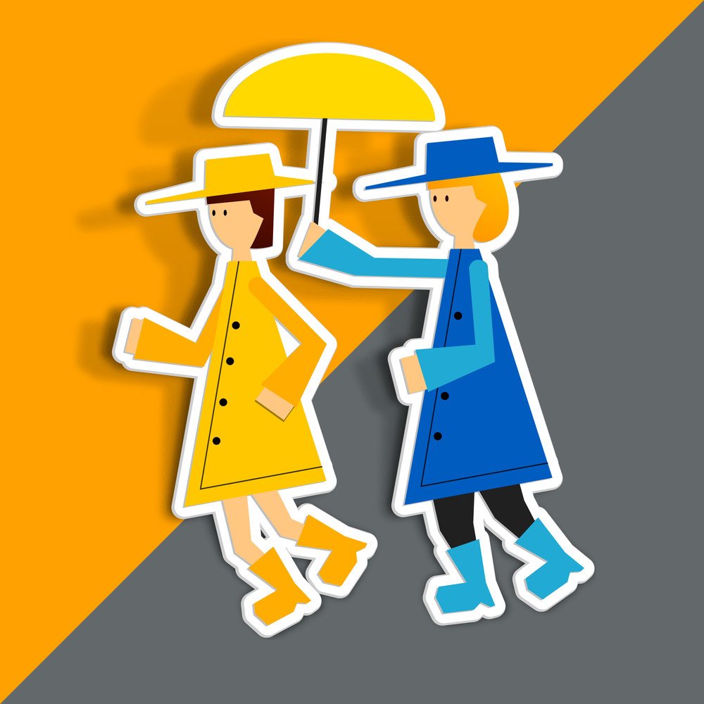 Happy Friendship Day Concept With Illustration Of Two Girls On Orange And Grey Background.