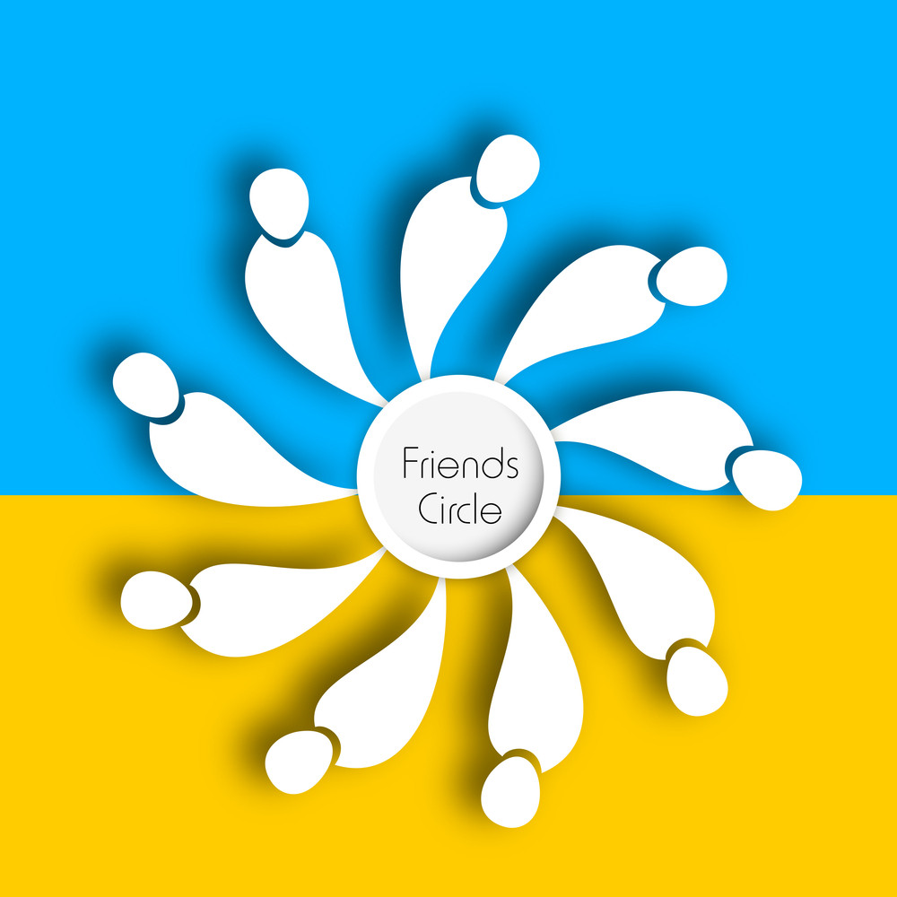 Happy Friendship Day Concept With Ineds Circle On Yellow And Blue Background.
