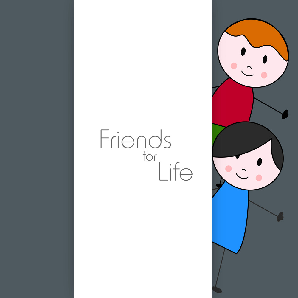 Happy Friendship Day Concept With Kids On Grey Background.
