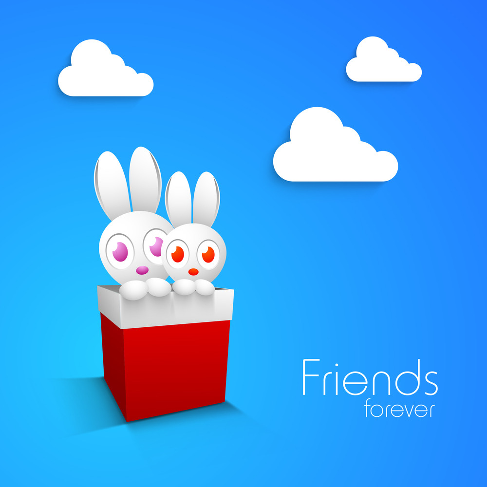 Happy Friendship Day Concept With Little Bunny's Coming Out Of Red Box On Beautiful Blue Background