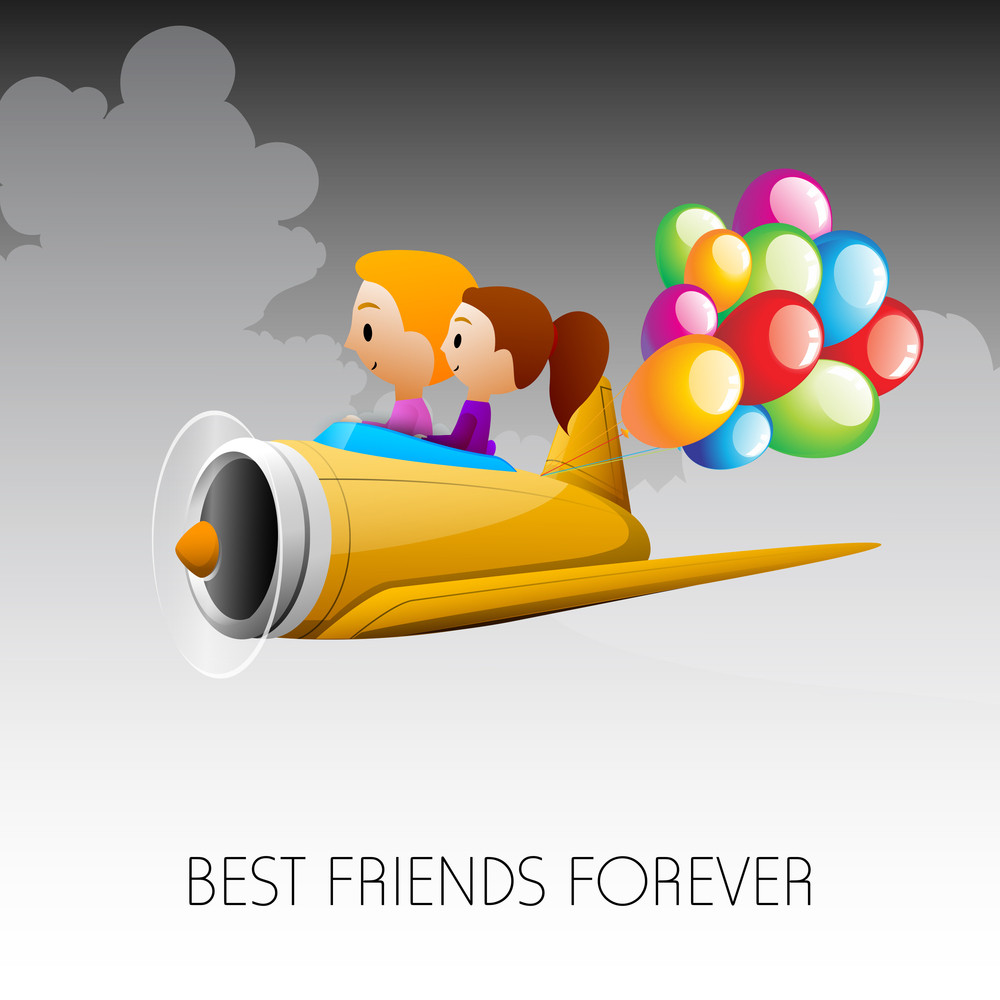 Happy Friendship Day Concept With Little Friends Flying In Aeroplane.