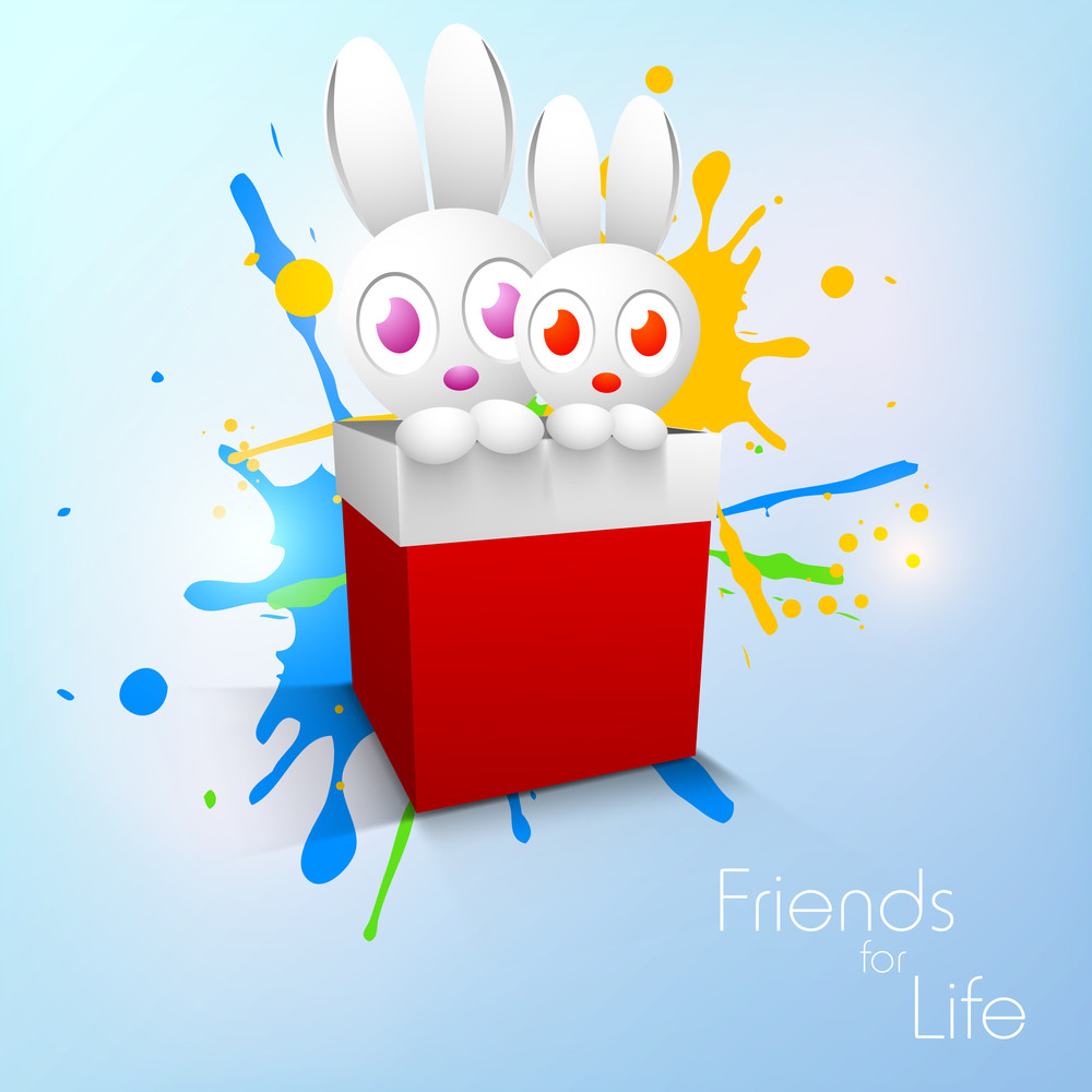 Happy Friendship Day Concept With Little Rabbiits In A Redbox On Blue Background.