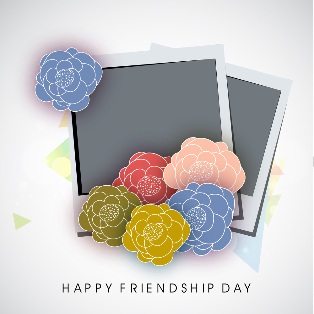 Happy Friendship Day Concept With Photoframes Decorated With Colorful Flowers On Grey Background