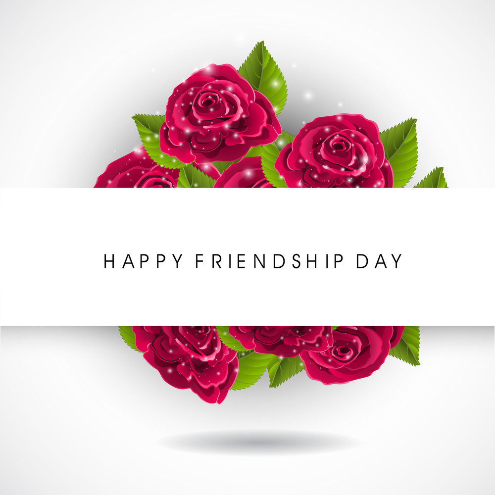 Happy Friendship Day Concept With Red Rosses On Grey Background.