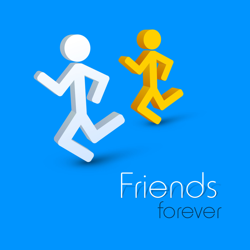 Happy Friendship Day Concept With Running Friends Icon On Blue Background.