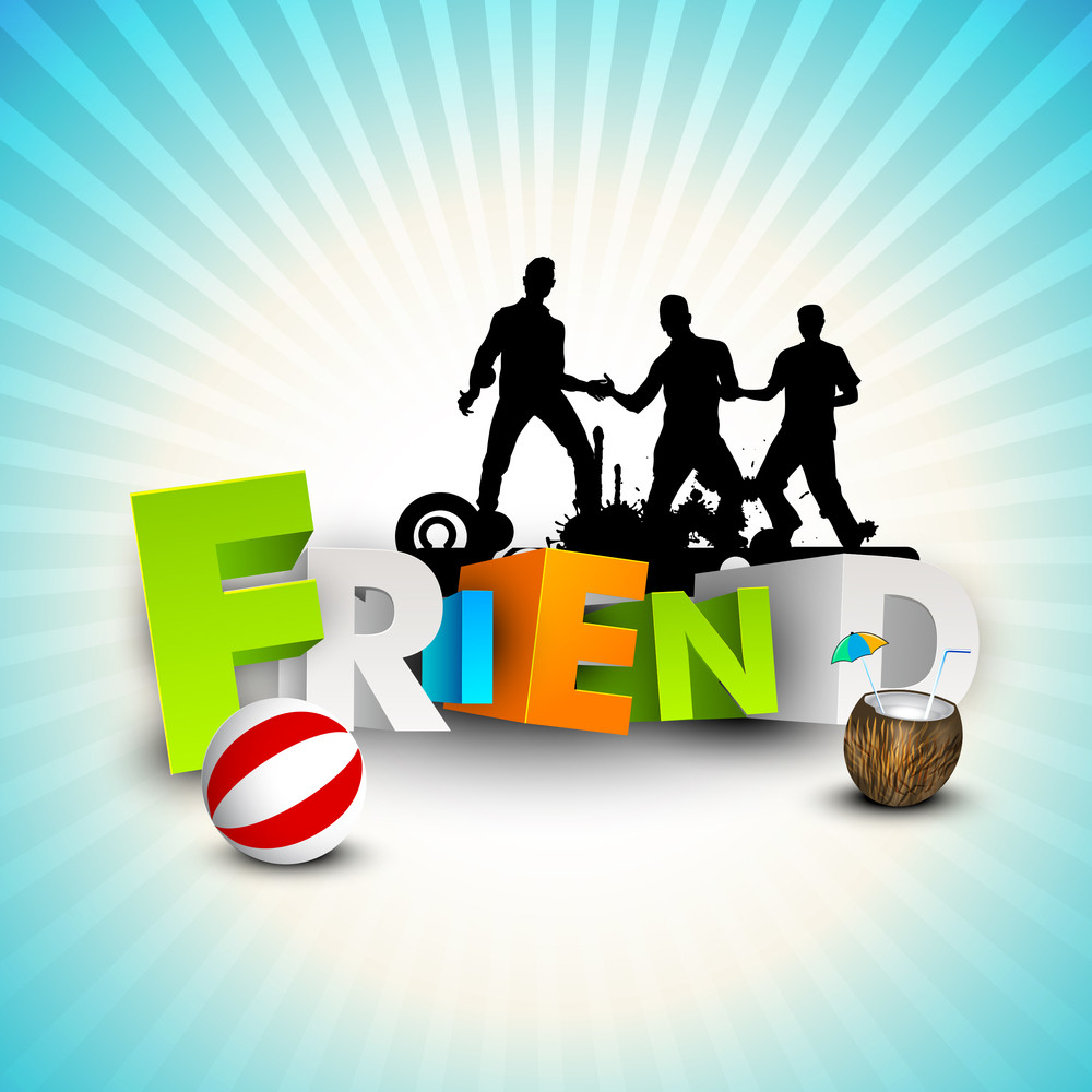 Happy Friendship Day Concept With Silhouette Of Fds On Blue Rays Background.