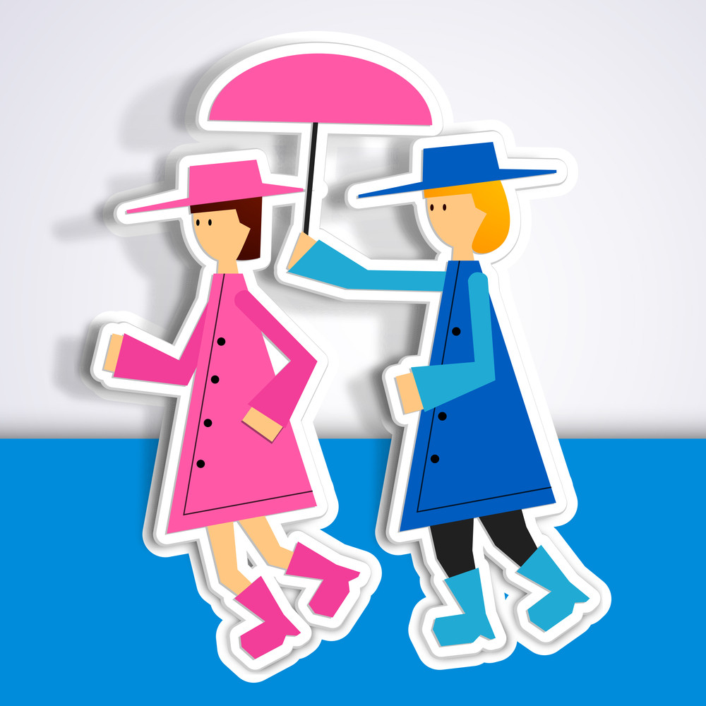Happy Friendship Day Concept With Silhouette Of Girls Under Umbrella  On Grey And Blue Background.